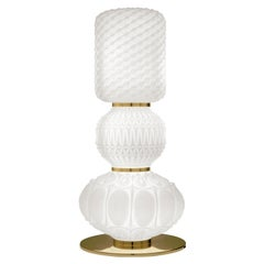 Etro Chagall Table Lamp in Metal and White Frost Blown Glass