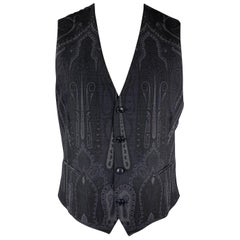 ETRO Chest Size 42 Charcoal & Blue Paisley Wool V Neck Vest