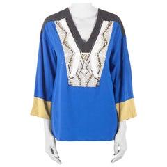 Etro Colorblock Silk Embellished Yoke Long Sleeve Tunic M