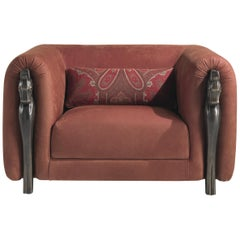 Etro Corinto Armchair in Leather and Wood