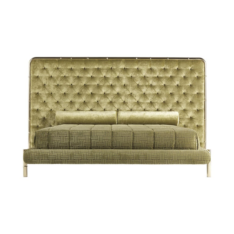 Etro Delfi Bed in Velvet and Polished Brass For Sale