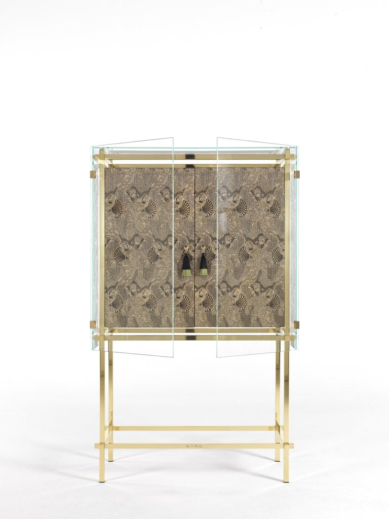 Modern Etro Delhi Cabinet in Wood and Polished Brass For Sale