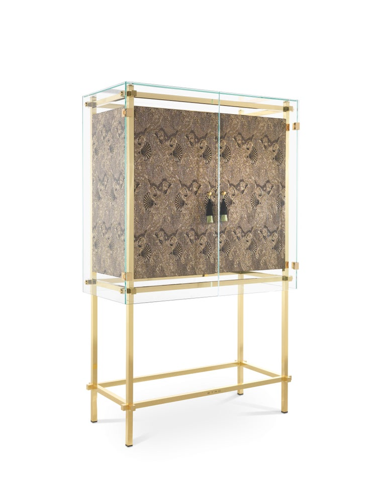 Italian Etro Delhi Cabinet in Wood and Polished Brass For Sale