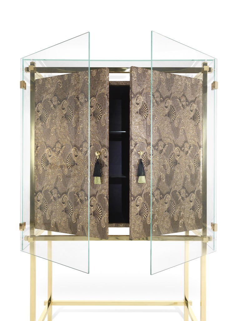 Contemporary Etro Delhi Cabinet in Wood and Polished Brass For Sale