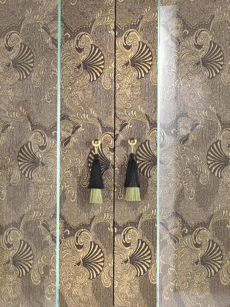 Etro Delhi Cabinet in Wood and Polished Brass For Sale 1