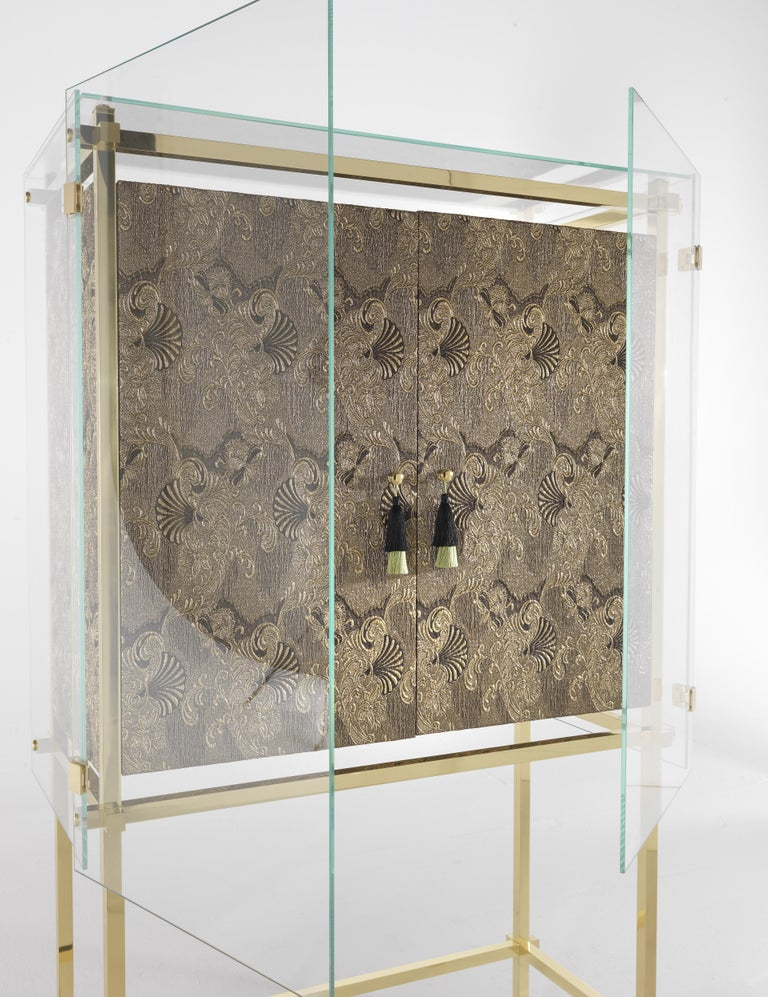 Etro Delhi Cabinet in Wood and Polished Brass For Sale 2