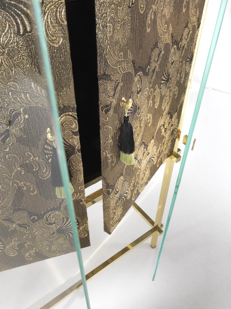 Etro Delhi Cabinet in Wood and Polished Brass For Sale 3