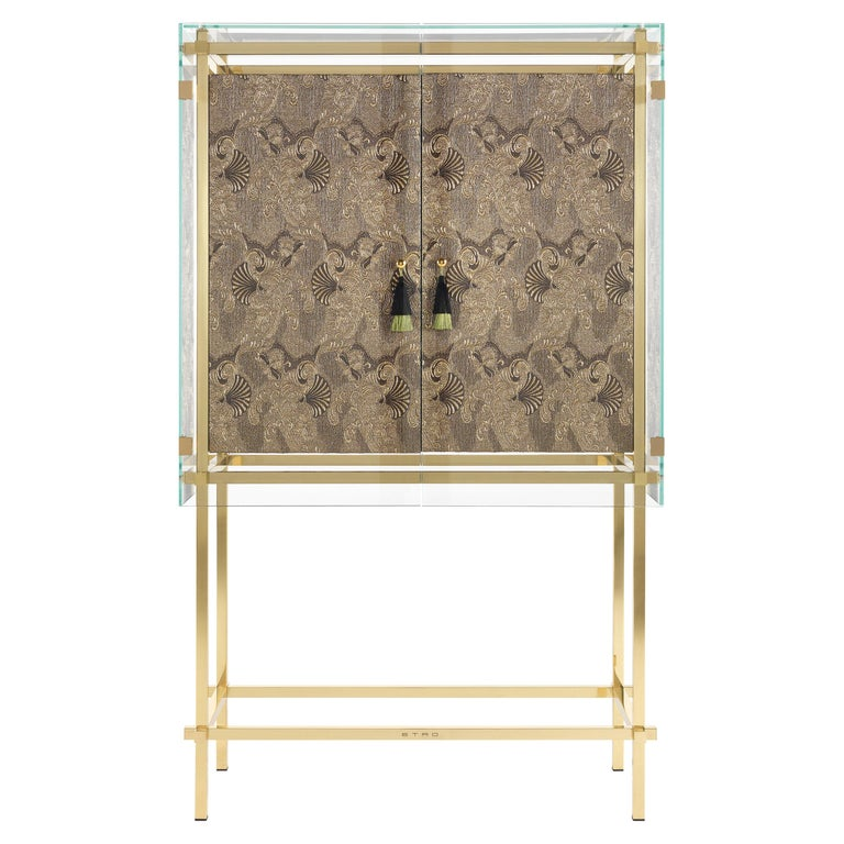 Etro Delhi Cabinet in Wood and Polished Brass For Sale