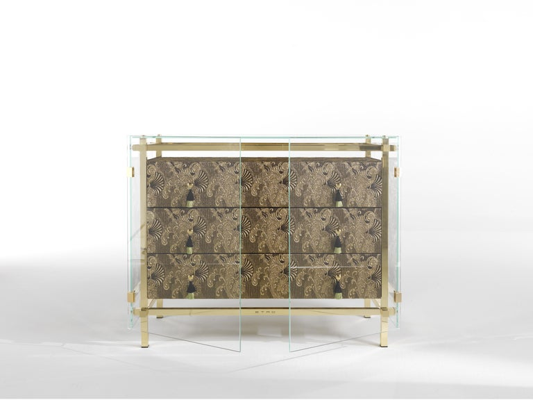 Modern Etro Delhi Chest of Drawers in Wood, Dark Paisley and Polished Brass For Sale