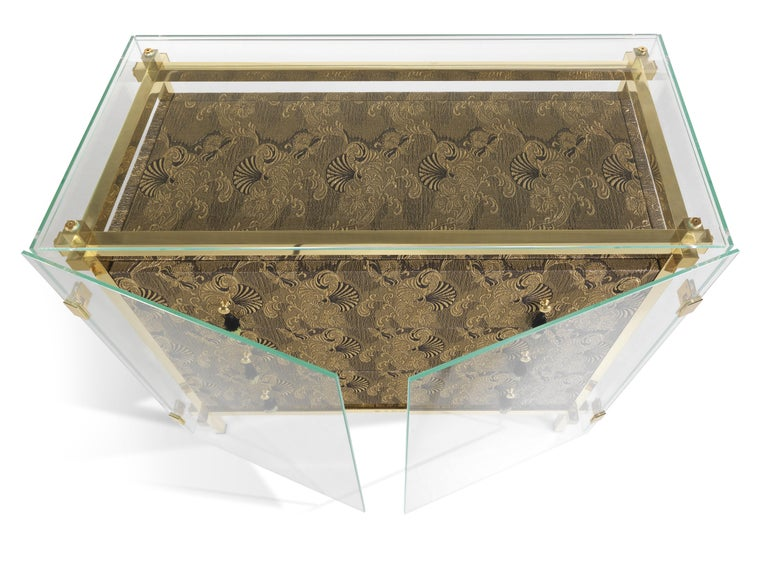 Italian Etro Delhi Chest of Drawers in Wood, Dark Paisley and Polished Brass For Sale