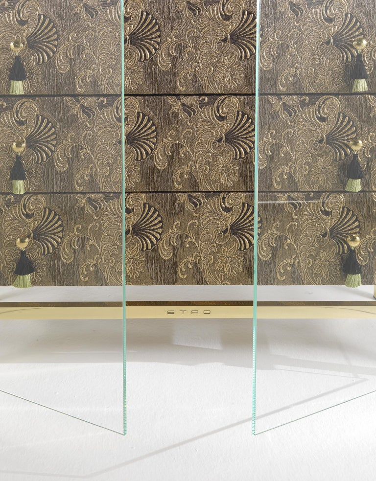 Contemporary Etro Delhi Chest of Drawers in Wood, Dark Paisley and Polished Brass For Sale