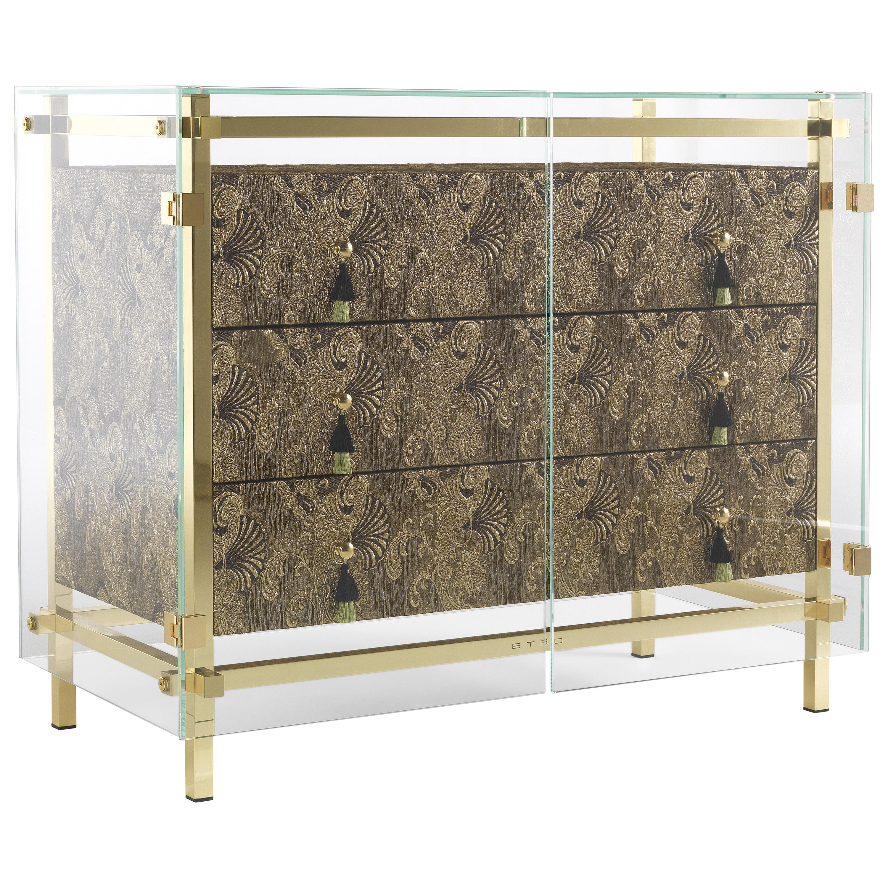 Etro Home Interiors Delhi Chest of Drawers in Fabric and Polished Brass