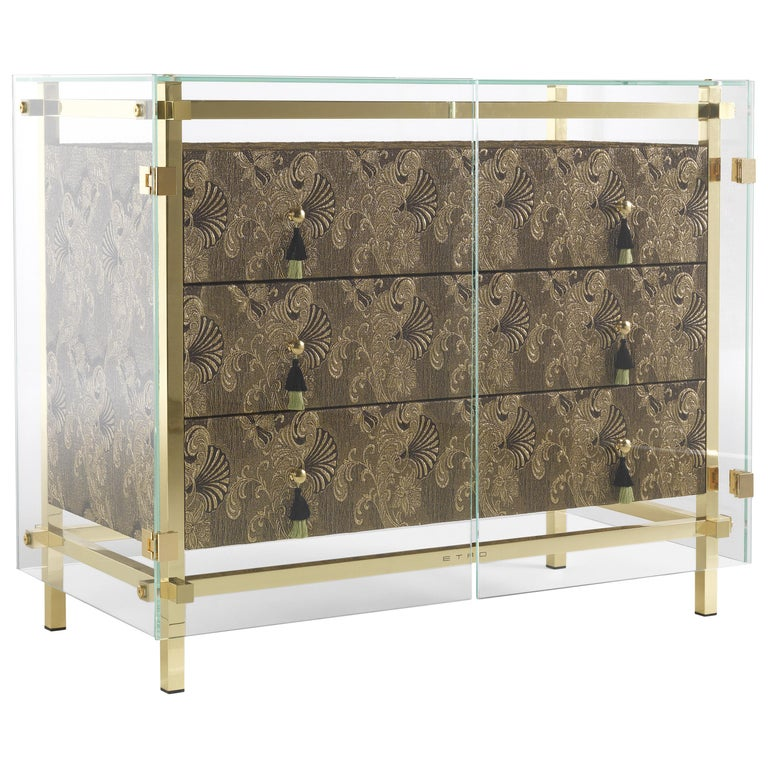 Etro Delhi Chest of Drawers in Wood, Dark Paisley and Polished Brass For Sale