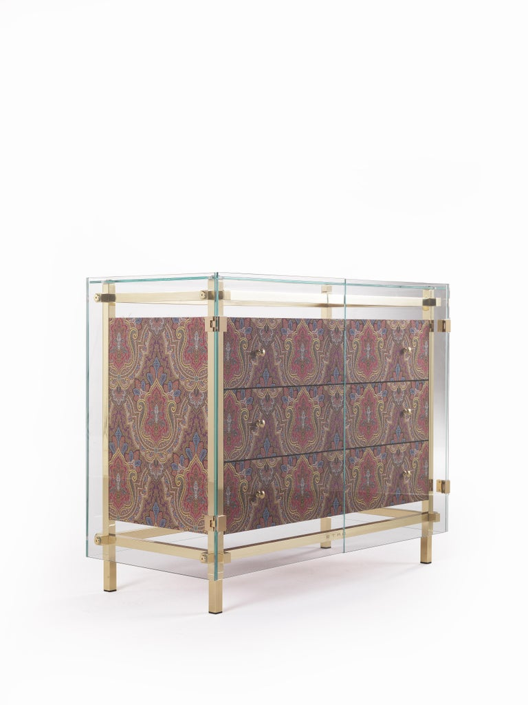 Modern Etro Delhi Chest of Drawers in Wood, Red and Blue Paisley and Polished Brass For Sale