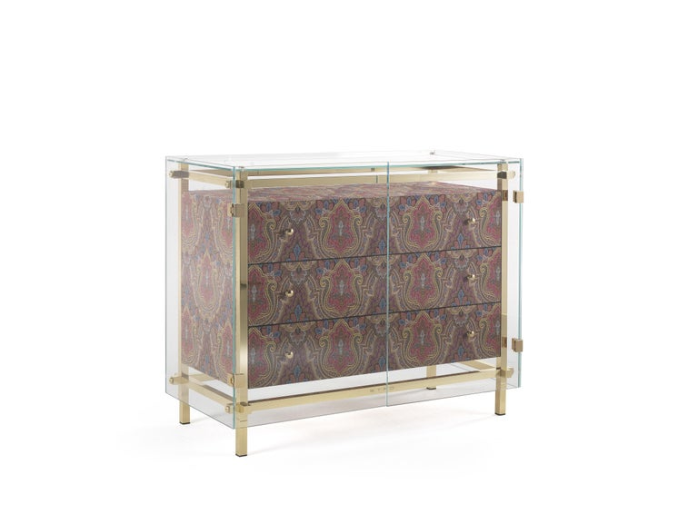 Italian Etro Delhi Chest of Drawers in Wood, Red and Blue Paisley and Polished Brass For Sale