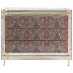 Etro Delhi Chest of Drawers in Wood, Red and Blue Paisley and Polished Brass