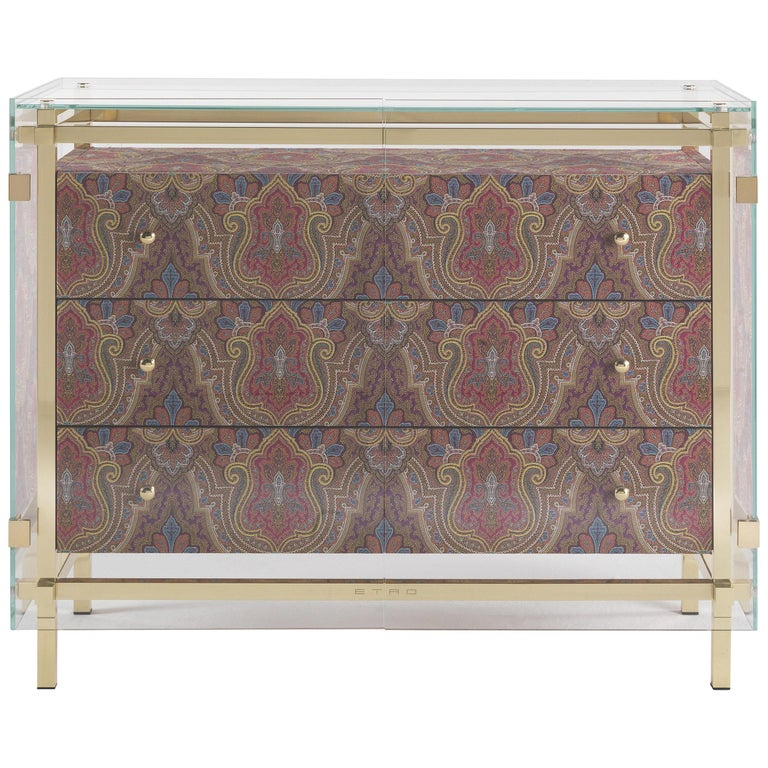 Etro Delhi Chest of Drawers in Wood, Red and Blue Paisley and Polished Brass For Sale