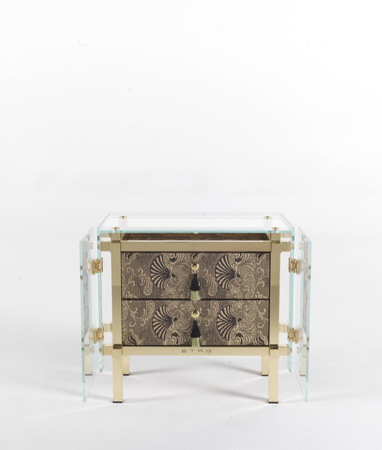 Modern Etro Delhi Night Table in Wood and Polished Brass For Sale