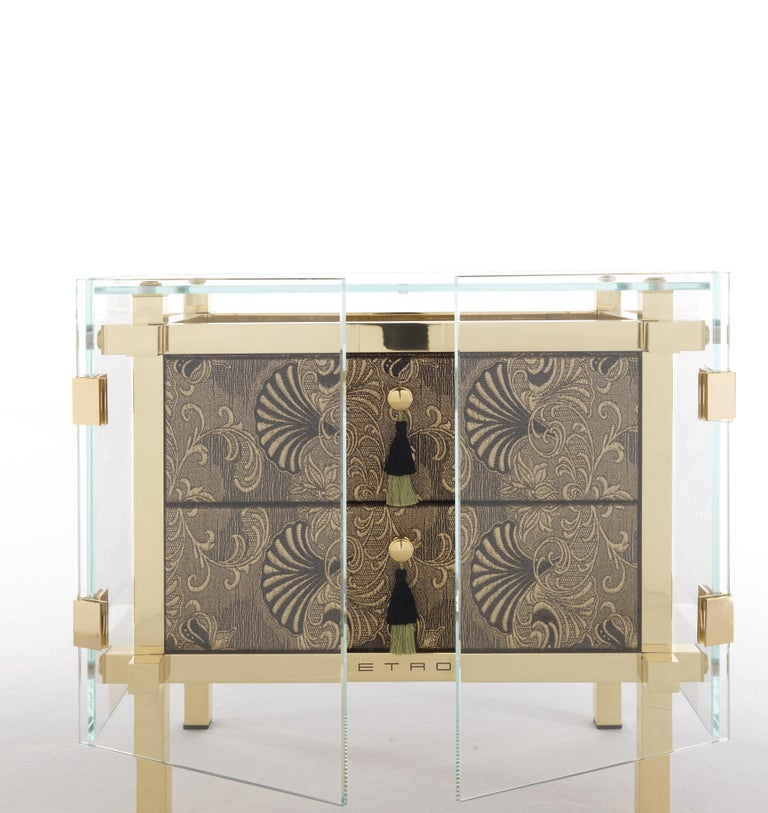 Italian Etro Delhi Night Table in Wood and Polished Brass For Sale