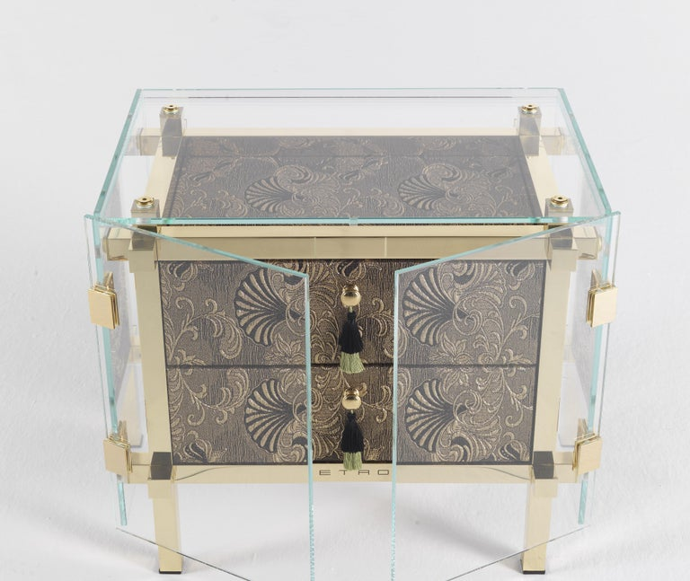 Etro Delhi Night Table in Wood and Polished Brass In New Condition For Sale In Cantu, IT