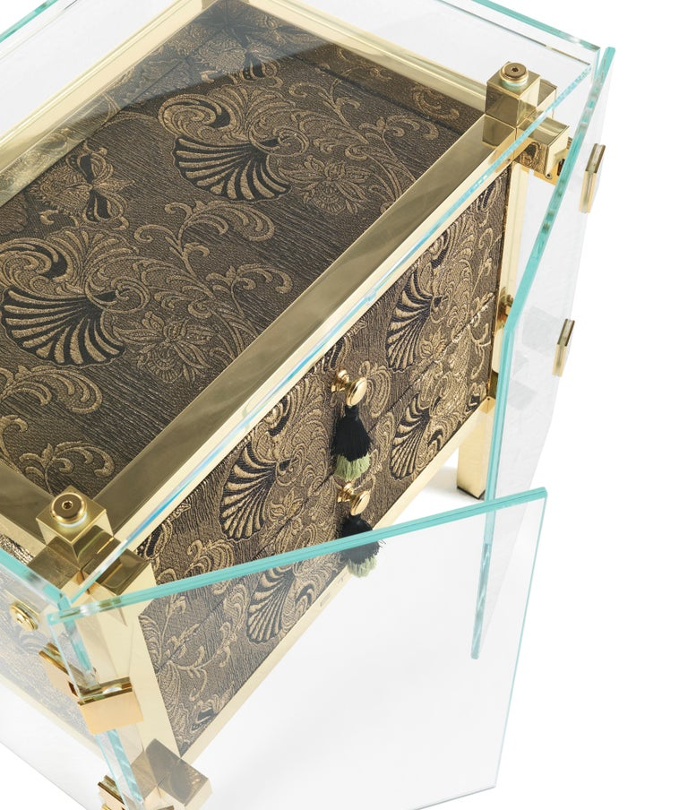 Contemporary Etro Delhi Night Table in Wood and Polished Brass For Sale