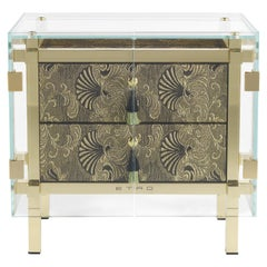 Etro Home Interiors Delhi Night Table in Fabric and Polished Brass