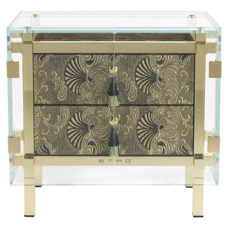Etro Delhi Night Table in Wood and Polished Brass For Sale