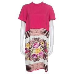 Etro Floral and Geometric Print Mandarin Collar Shift Dress M