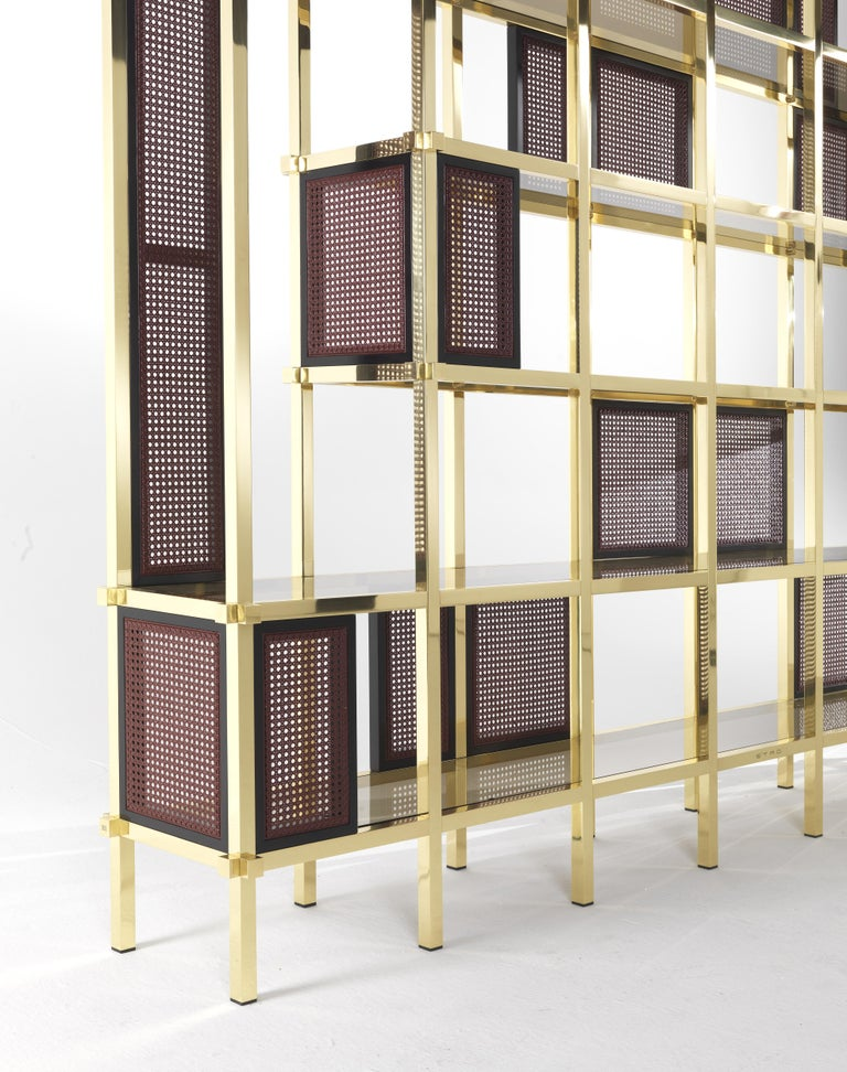 Modern Etro Fonda Bookcase in Wood and Brass For Sale