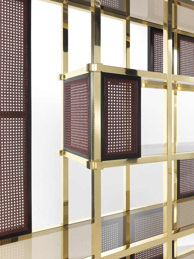 Polished Etro Fonda Bookcase in Wood and Brass For Sale