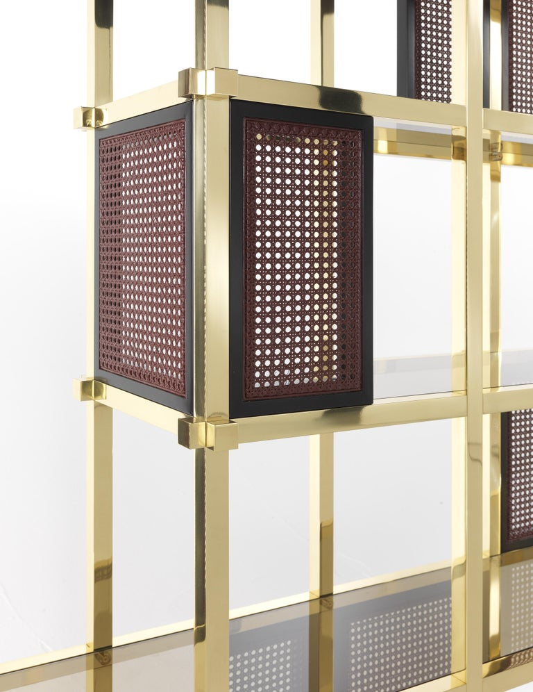 Etro Fonda Bookcase in Wood and Brass In New Condition For Sale In Cantu, IT