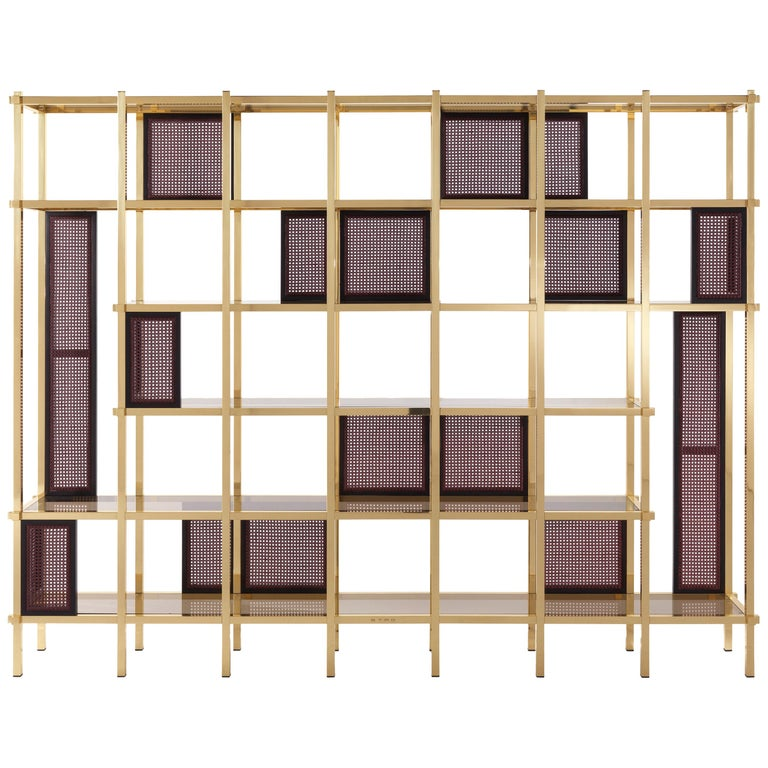 Etro Fonda Bookcase in Wood and Brass For Sale