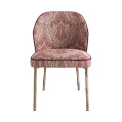 Etro Home Interiors Frida Chair in Fabric and Metal with a Rounded Back