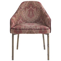 Etro Home Interiors Frida Chair in Fabric and Metal with a Squared Back
