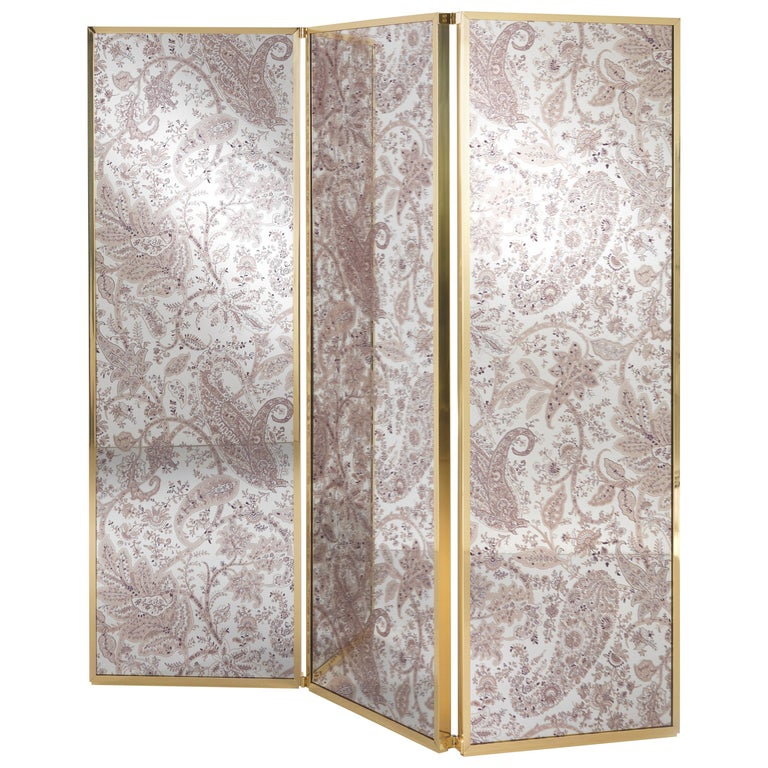 Etro Gathi Screen in Brass and Wood For Sale