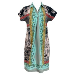 Etro Gray Light Blu Cotton Short Sleeve Floral Summer Casual Wide Dress