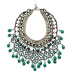 Etro Green/Black Crystal & Beaded Bib Statement Necklace