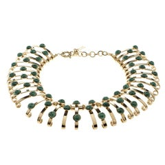 Etro Green Cabochon Gold Tone Binder Choker Necklace