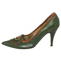 Etro Green Leather Logo Embellished Pointed Toe Pumps Size 38.5
