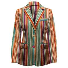 Etro Green & Multicolor Striped Blazer