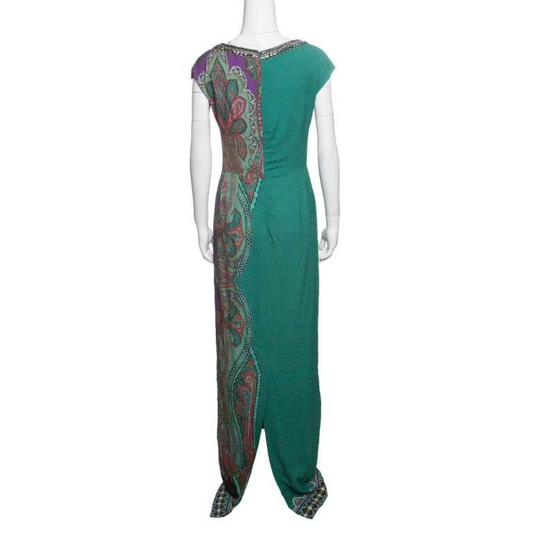 Etro Green Paisley Printed Embellished Maxi Dress M In New Condition In Dubai, Al Qouz 2