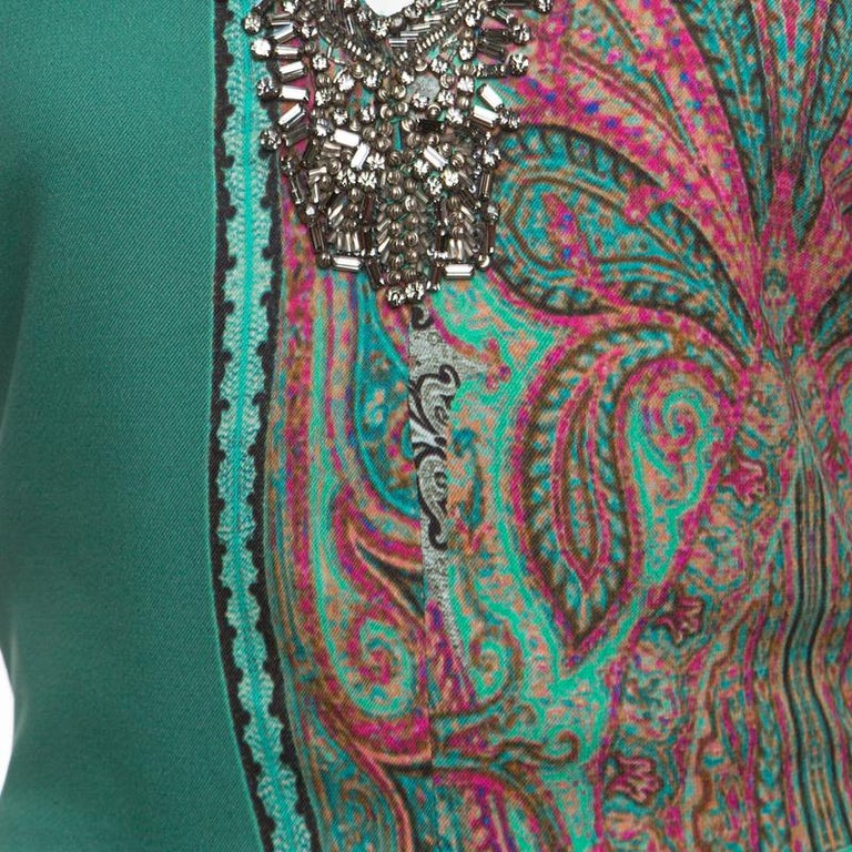 Women's Etro Green Paisley Printed Embellished Maxi Dress M