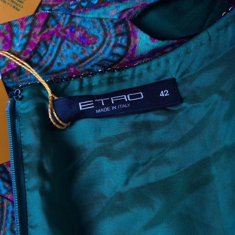 Etro Green Paisley Printed Embellished Maxi Dress M 1