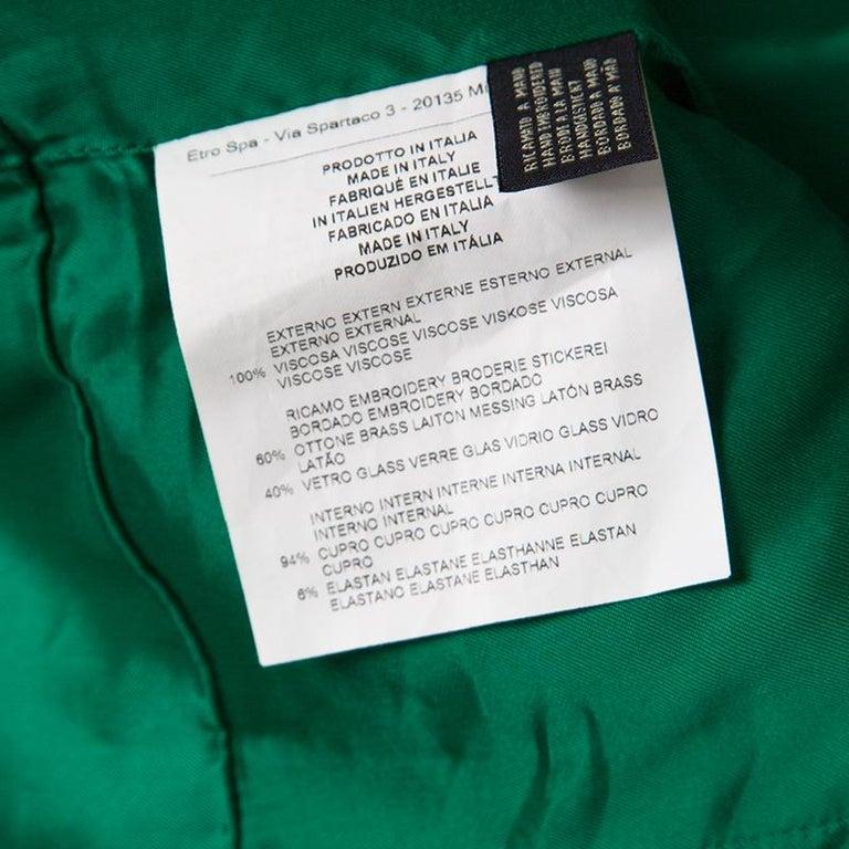 Etro Green Paisley Printed Embellished Maxi Dress M 2