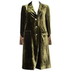 ETRO green viscose EMBROIDERED CUFF VELVET BRISTOL Coat Jacket 42 M