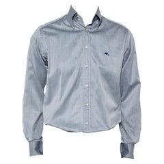 Etro Grey Cotton Logo Embroidered Button Front Shirt M