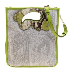 Etro Grey/Green Paisley Coated Canvas Crossbody Bag