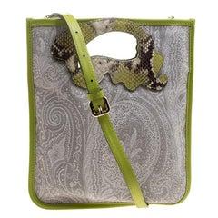 Etro Grey/Green Paisley Coated Canvas Crossbody Bag