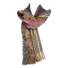 ETRO grey pink yellow wool blend ETHNIC Oblong Scarf Shawl