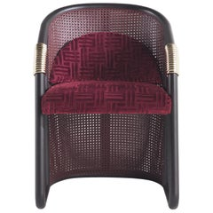 Etro Home Interiors Hamar Chair in Velvet and Cherry Red Lacquered Cane